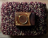 The Study Storyteller Scarf. Rustic Folk Bohemian Gypsy Hand Crocheted Gold Oxblood Fringe Wrap Scarf.