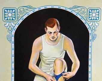 Leyendecker Flapper Hunk, Art Deco Print, Illustration for Paris Garters, 1927 Vintage Men's Fashion Underwear Ad