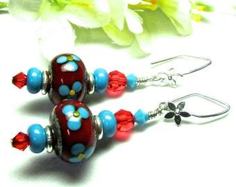 Funky Earrings Floral Earrings Lampwork Earrings Flower Earrings Earrings Red Earrings Glass Earrings Beaded Earrings Artisan Earrings