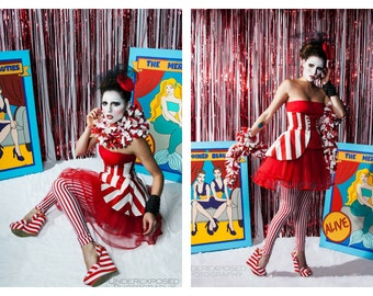 Circus Skirt, Red Stripe Skirt, Women's Costume, Clown Costume, Pirate Costume, Cincher Skirt