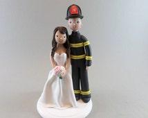 Bride & Groom Customized Firefighter Wedding Cake Topper