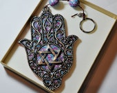 NEW colorful polymer clay Hamsa Hanging wall decor Judaica Magen david by orly kliger