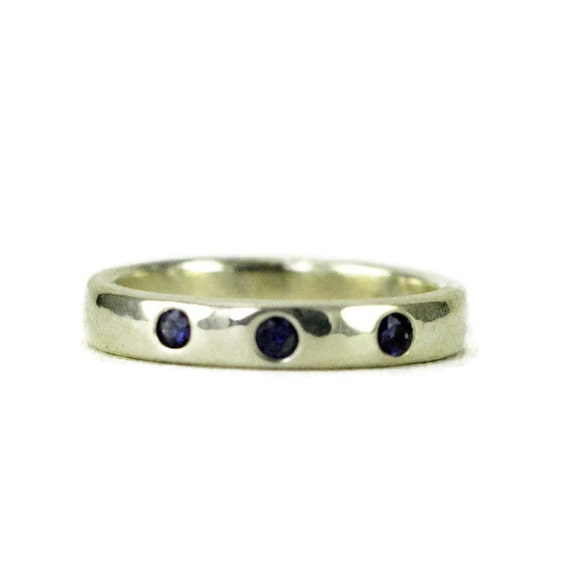 Sterling Three Stone Band Ring -  - Sapphire Anniversary or Wedding Band