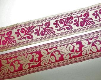 "Metallic Gold Pink Jacquard Ribbon Trim Reversible Dianthus Leaf Leaves Pattern 4 Yds x 1 1/8"" Costume Trim Elizabethan Victorian Trim"