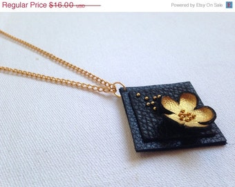 """50% OFF SALE Gold color floral leather pendant Statement necklace Flower Leather Jewelry """"Nature inspired"""" collection"""