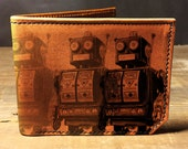 wallet, leather wallet, mens leather wallet, robots wallet - 034