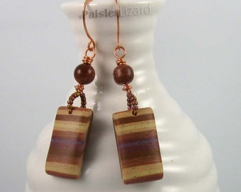 Desert Landscape Earrings, earth tone stripes polymer clay dangles and goldstone beads on copper wire