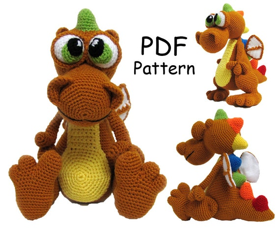 Crochet toy Amigurumi Pattern Dragon.