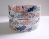 Kawaii Deco Tape - Seal and Whale shark 1 PC / 1.5cm wide x 25m (0.7in x 27 yards)