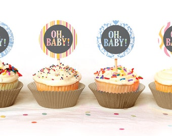 Oh Baby - Mod Baby Shower Cupcake Toppers - INSTANT DOWNLOAD - Print Your Own - BAB28_CT
