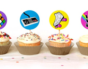 Totally 80's 1980s themed Cupcake Toppers - Instant Download - Print Your Own - KID59_CT