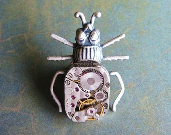 Clockwork Beetle - Oxidized Silver Plated Steampunk Bug Beetle Brooch,Tie Pin or Lapel Pin Gift Box
