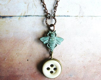 Bee and Button - Verdigris Bee and Antique Glass Button Pendant Copper Chain Necklace Gift Box