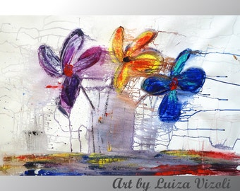 Original Flowers Painting Modern Abstract Flower Bouquet Art on Large Canvas Colorful Artwork by Luiza Vizoli