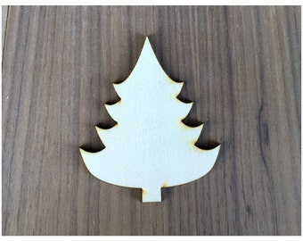 6 Pieces- Craft Wood Shapes Christmas Tree B