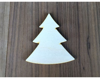 6 Pieces- Craft Wood Shapes Christmas Tree C