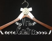 LARGE LETTERS  Two Lines  Personalized Bride hanger for wedding dress  Original Unique Wired Art design PEARLS and ribbon accents included