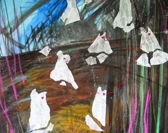 Original art painting drawing textile mixed media Ascendant