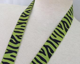 Lime Green and Black Zebra Ribbon Lanyard
