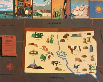 VIntage Pictorial Map of South Dakota 1939 World's Fair