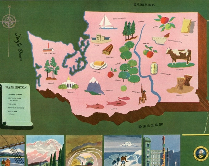Featured listing image: VIntage Pictorial Map of Washington State 1939 World's Fair