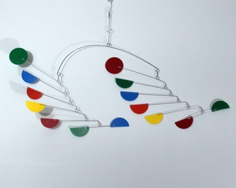 Mobile Dance Style - Kinetic Art Half Circle Mobile Sculpture by Carolyn Weir - 23w x 16t - P177