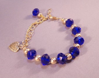 Gold Chain and Cobalt Blue Crystal Beaded Charm Bracelet