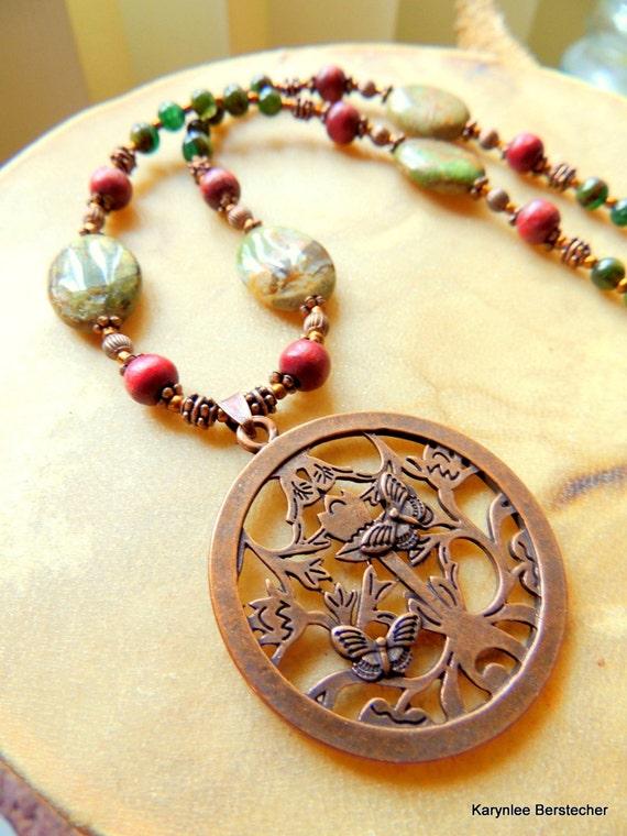 Butterfly Pendant, Autumn Jasper Pendant Necklace, Copper Jewelry, Handcrafted Jewelry, Gemstone Jewelry, Woodland Jewelry, Sandalwood