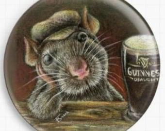 Paddy The Rat, Needle Minder - Licensed Art By Tanya Bond  Cross Stitch Keeper - Fridge Magnet