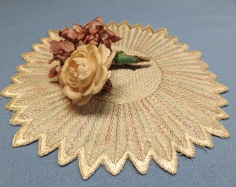 Vintage flowers and Society  silk embroidered doily vintage / antique loveliness