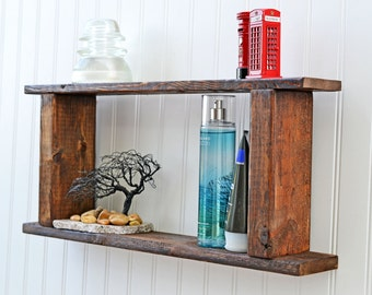 Primitive Bathroom Shelf, Country Style Wall Shelf, Barn Decor, Bath Storage, Shabby Decor