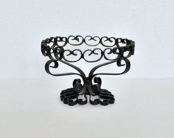 Wrought Iron Scroll Pedestal Basket - Made In Spain