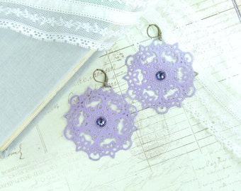 Light Purple Earrings Purple Dangle Earrings Boho Chic Earrings Extra Large Earrings Purple Filigree Earrings