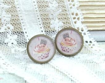 Cupcake Stud Earrings Sweets Studs Cupcake Earrings Dessert Earrings Cupcake Jewelry Cupcake Gift