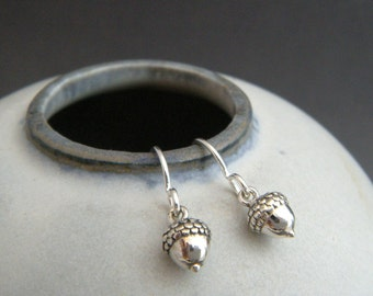 tiny silver acorn earrings. small sterling silver dangle. woodland. strength. simple everyday drop. nature botanical gardener gift 1/4""
