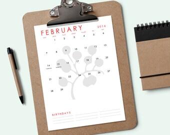 Printable Calendar - Simple Florals - Download & Print 2016 Calendar - Perpetual Calendar - Editable Calendar PDF - Calendar Template PDF