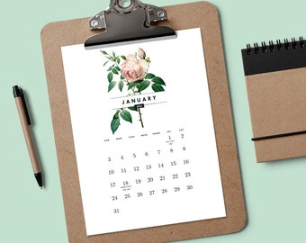 Druckbare Kalender 2017 - Vintage Rosen - PDF-Kalender - Rose Kalender - Kalender - Kalendervorlage - 2017 Kalendervorlage herunterladen