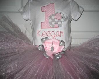 Baby Girl Birthday Elephant tutu set, Elephant First Birthday, pink and gray elephant tutu