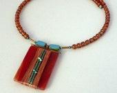 Modern Glass and Copper Necklace, Choker, Handmade, Linear, Czech Glass, Swarovski, Abstract