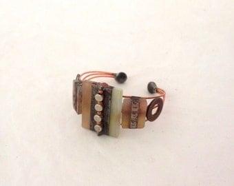 Handmade Geometric Cuff, Glass, Art Deco, Copper