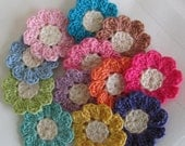 Tiny Crochet Flowers, 12  Small Handmade Appliques, Craft Supplies