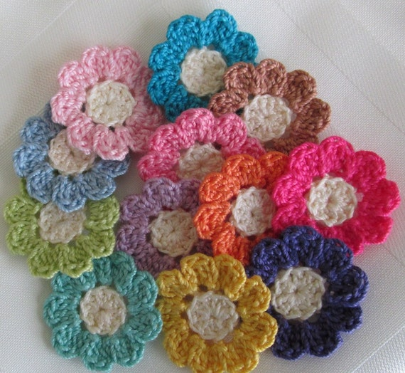 Tiny crochet flowers 12 small handmade appliques craft for Small flowers for crafts