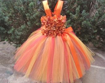 ORANGE  FLOWERS. TUTU Dress. Birthday Tutu Dress. Flower Girl Gown.  Photo Shoots.  Orange Tutu Dress.   Girl Tutu Dress. Princess Dress.