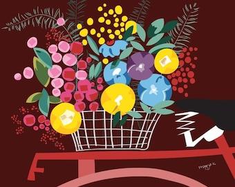 Flower art print- Flirty Fleurs- Colorful flower print, abstract flower illustration, flowers in bike basket, Floral print, flower wall art