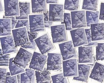 50 x Light PURPLE Queen Elizabeth British Postage Stamps from United Kingdom