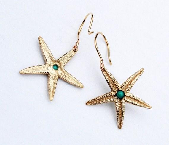 Gold & Turquoise Dangling Starfish Earrings