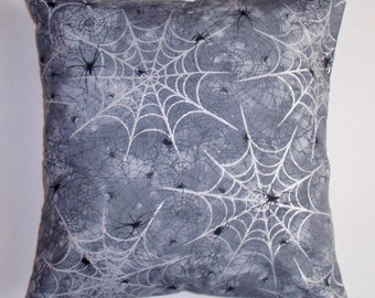 """HALLOWEEN Throw Pillow Cover, Halloween Decor, Spooky Spiders & Webs Pillow Cover, Whimsical Home Decor, Holiday Decor, 16x16"""" Square Cover"""