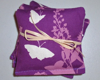 """HANDMADE Lavender Sachets, 4x4"""" Set of 3, Swallow Study in Lavender, Eco Friendly Dryer Sheets, Car Air Fresheners, Lavender Drawer Sachets"""