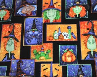 Fat Quarter Adorable Silly Witches Halloween Fabric