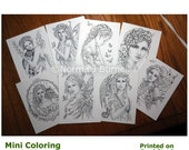 Fairy Tangles Post card size Mini Coloring Book Pages Grayscale fairy images to color fairy cards for coloring and card making.